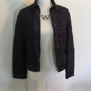 Chico's Embellished Plum Open Dress Jacket
